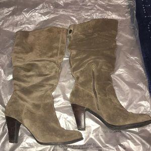Suede Olive BCBG Heel Boots